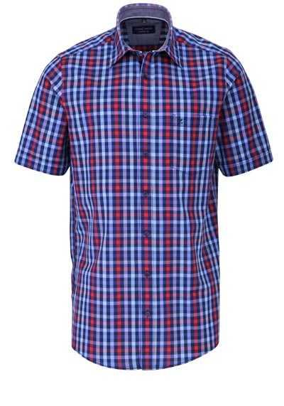 CASAMODA Comfort Fit Hemd Halbarm New Kent Kragen Karo dunkelblau - Hemden Meister