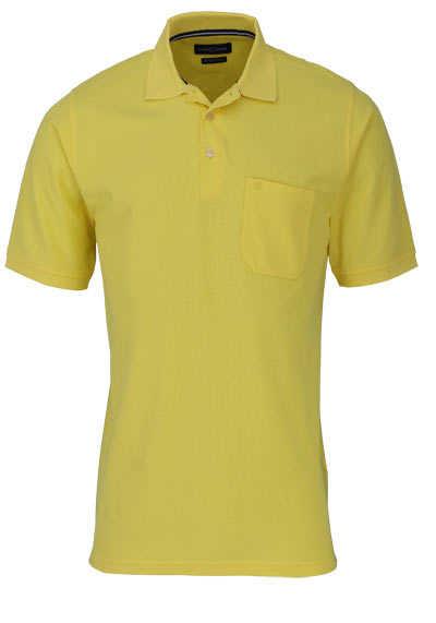 CASAMODA Poloshirt Halbarm Brusttasche geknöpfter Kragen zitronengelb - Hemden Meister
