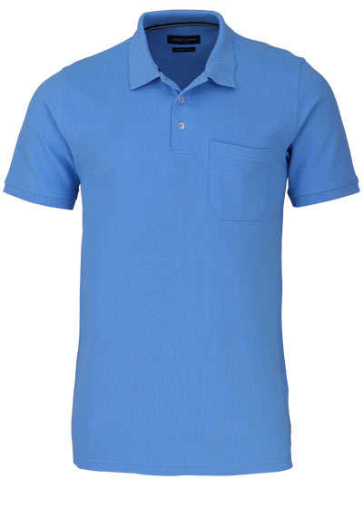 CASAMODA Poloshirt Halbarm Brusttasche geknöpfter Kragen eisblau - Hemden Meister