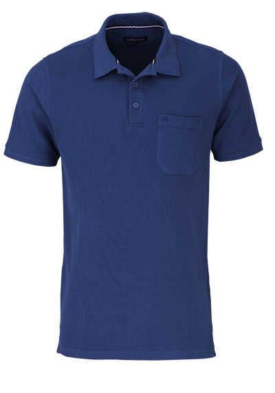 CASAMODA Poloshirt Halbarm Brusttasche geknöpfter Kragen dunkelblau - Hemden Meister