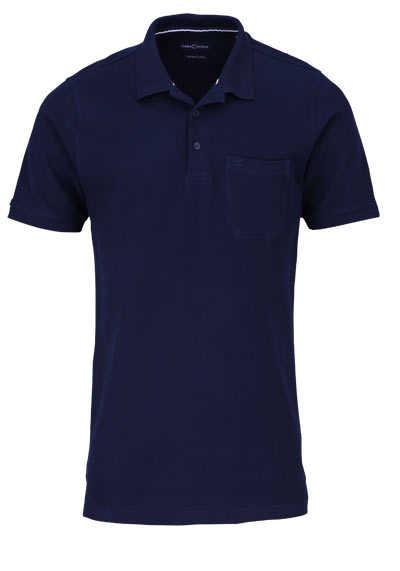 CASAMODA Poloshirt Halbarm Brusttasche geknöpfter Kragen nachtblau - Hemden Meister