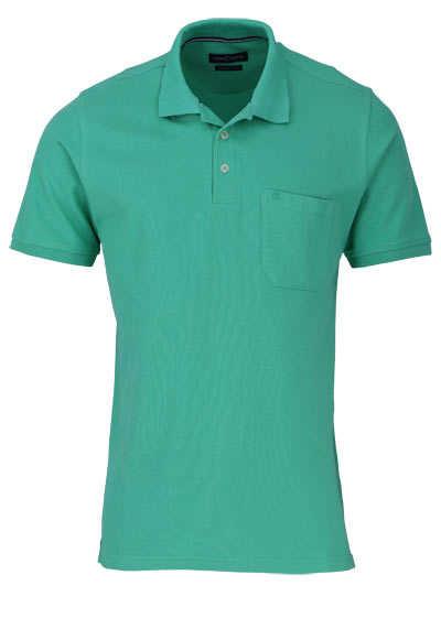 CASAMODA Poloshirt Halbarm Brusttasche geknöpfter Kragen mittelgrün - Hemden Meister