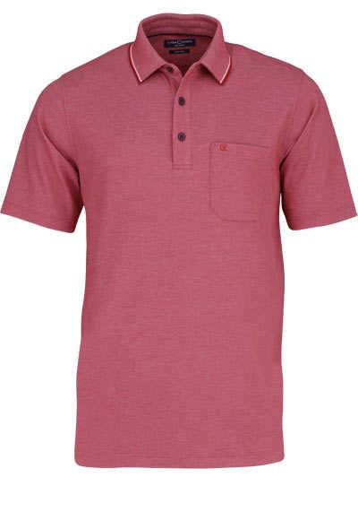 CASAMODA Poloshirt Halbarm Brusttasche geknöpfter Kragen rot