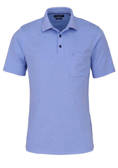 CASAMODA Poloshirt Halbarm Brusttasche geknöpfter Kragen aqua - Hemden Meister