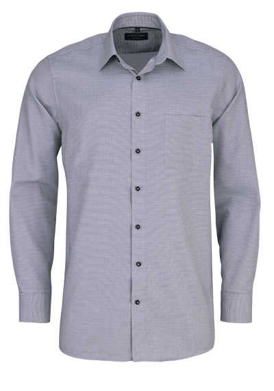 CASAMODA Comfort Fit Hemd Langarm New Kent Kragen Struktur grau - Hemden Meister