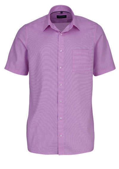 CASAMODA Comfort Fit Hemd Halbarm New Kent Kragen Struktur rosa - Hemden Meister