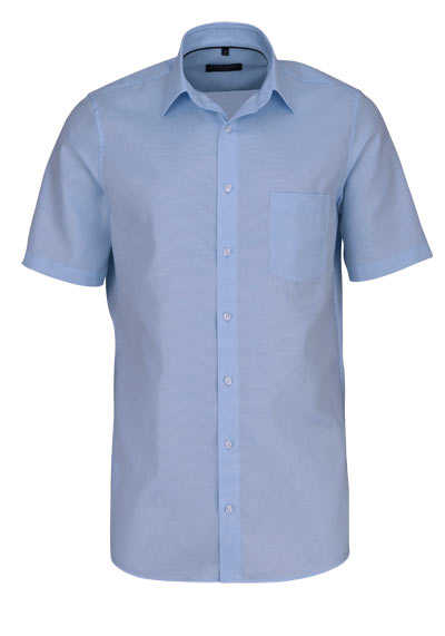 CASAMODA Comfort Fit Hemd Halbarm New Kent Kragen Struktur eisblau - Hemden Meister