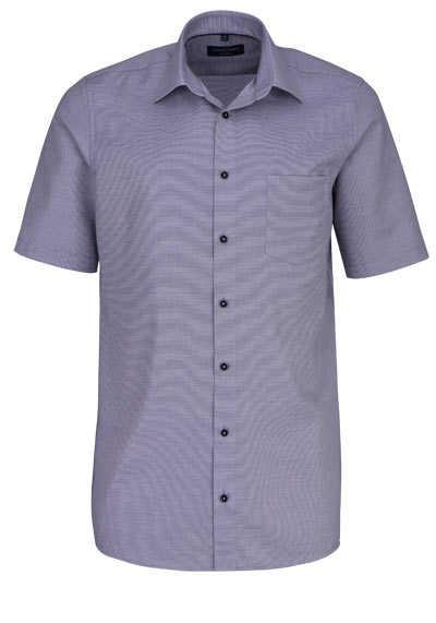CASAMODA Comfort Fit Hemd Halbarm New Kent Kragen Struktur grau - Hemden Meister