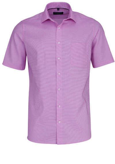 CASAMODA Modern Fit Hemd Halbarm New Kent Kragen Struktur rosa - Hemden Meister