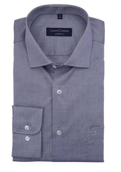 CASAMODA Modern Fit Hemd Langarm New Kent Kragen grau