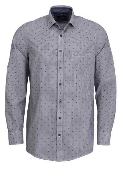 CASAMODA Comfort Fit Hemd Langarm Haifischkragen Streifen schwarz - Hemden Meister