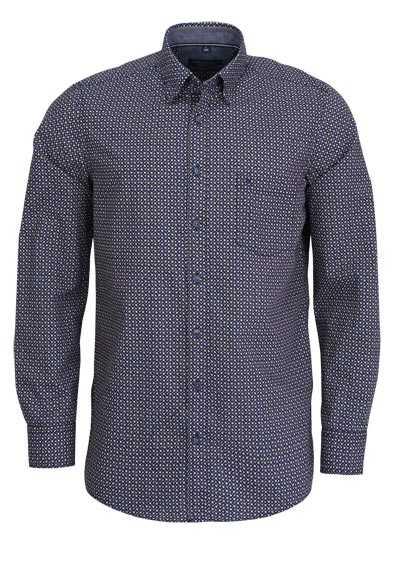 CASAMODA Comfort Fit Hemd Langarm mit Besatz Muster blau - Hemden Meister