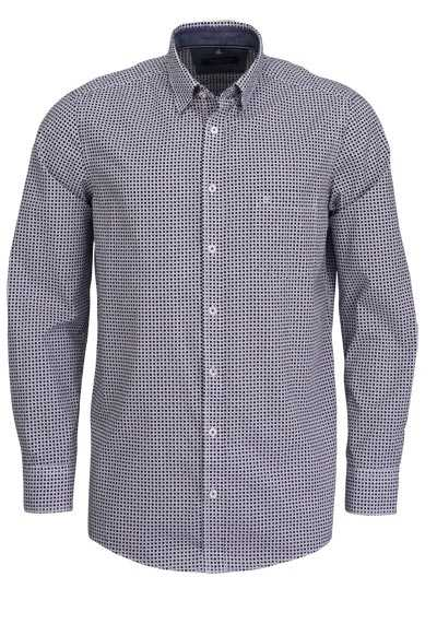 CASAMODA Comfort Fit Hemd Langarm mit Besatz Muster schwarz - Hemden Meister