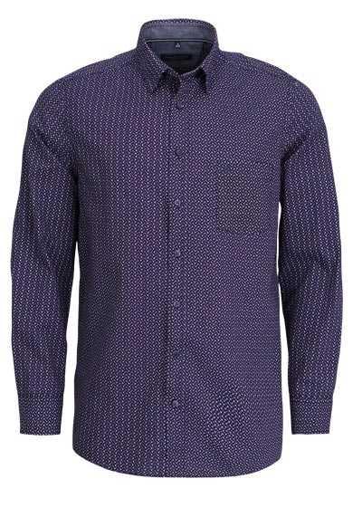 CASAMODA Comfort Fit Hemd Langarm mit Besatz Muster dunkelrot - Hemden Meister