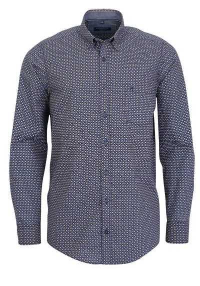 CASAMODA Casual Fit Hemd Langarm mit Besatz Muster blau - Hemden Meister