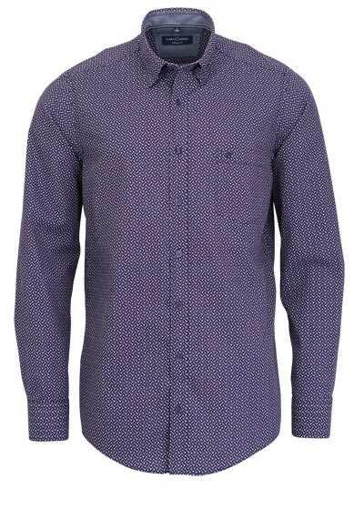 CASAMODA Casual Fit Hemd Langarm mit Besatz Muster dunkelrot - Hemden Meister