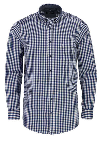 CASAMODA Comfort Fit Hemd Langarm Button Down Kragen Karo blau