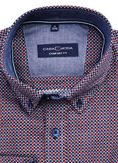 CASAMODA Comfort Fit Hemd Langarm Button Down Kragen Muster orange