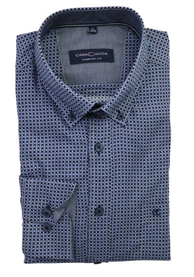 CASAMODA Comfort Fit Hemd Langarm Button Down Kragen Muster blau