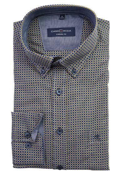 CASAMODA Modern Fit Casual Hemd Langarm Button Down Kragen Muster gelb