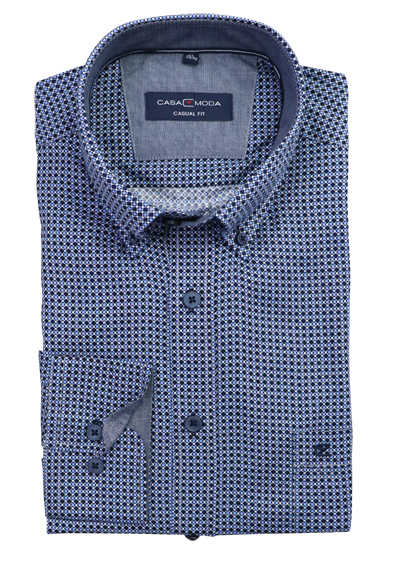 CASAMODA Modern Fit Casual Hemd Langarm Button Down Kragen Muster blau