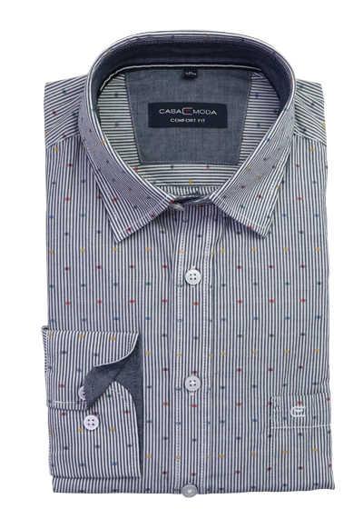 CASAMODA Comfort Fit Freizeithemd Langarm New Kent Kragen Brusttasche Muster dunkelblau