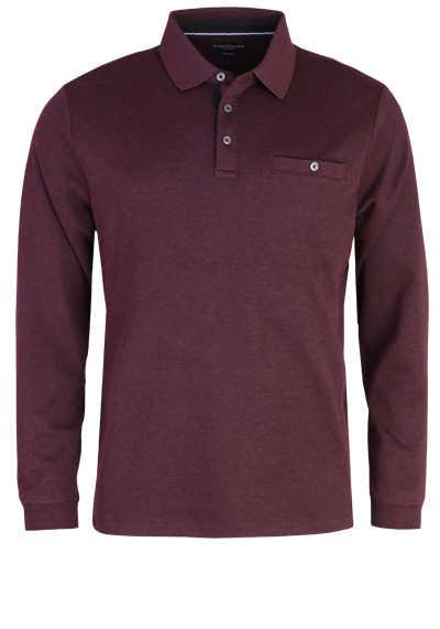 CASAMODA Polo-Shirt Langarm Brusttasche geknöpft rot