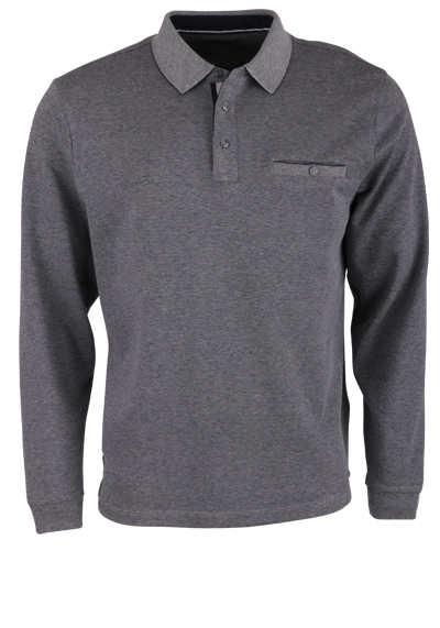 CASAMODA Polo-Shirt Langarm Brusttasche geknöpft blau