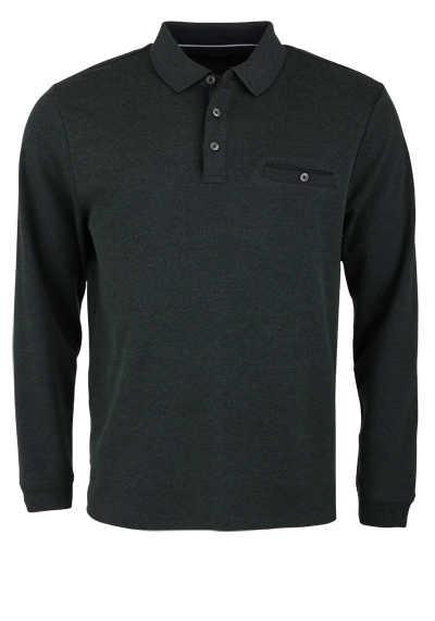 CASAMODA Polo-Shirt Langarm Brusttasche geknöpft dunkelgrün