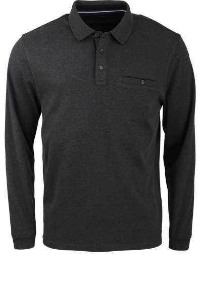 CASAMODA Polo-Shirt Langarm Brusttasche geknöpft grau