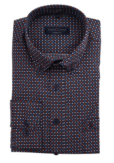 CASAMODA Casual Fit Hemd Langarm Button Down Kragen Muster blau