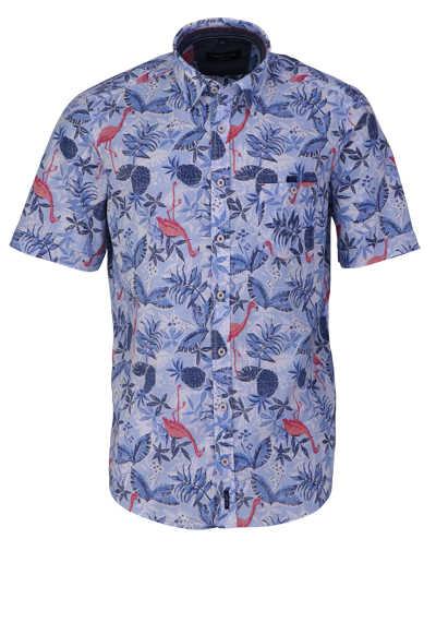 CASAMODA Casual Fit Hemd Halbarm Under-Button-Down Kragen Muster blau