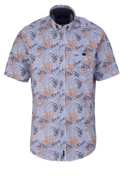CASAMODA Casual Fit Hemd Halbarm Button Down Kragen Muster blau