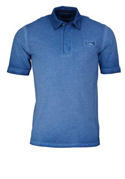CASAMODA Poloshirt Halbarm Polokragen geknöpft Ringel blau