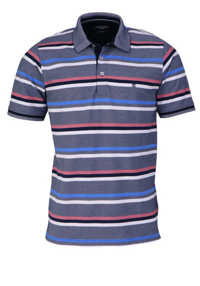 CASAMODA Poloshirt Halbarm Polokragen geknöpft Ringel dunkelblau