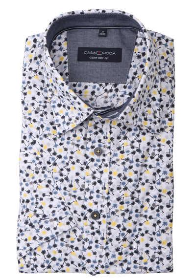CASAMODA Comfort Fit Hemd Halbarm New Kent Kragen Palmenmuster schwarz
