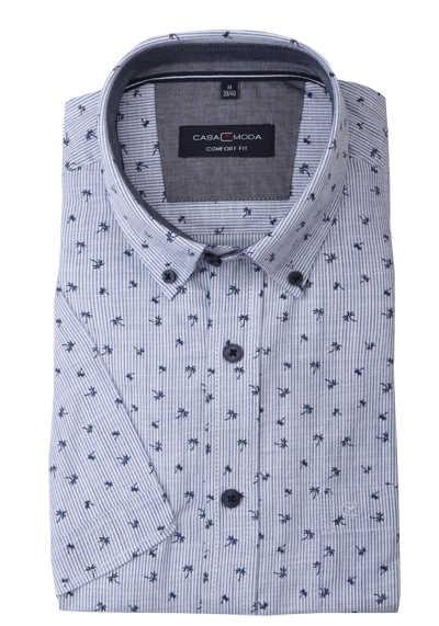 CASAMODA Comfort Fit Hemd Halbarm Button Down Kragen Streifen blau