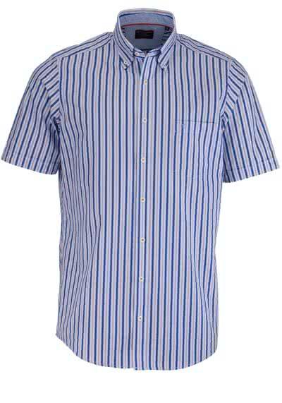 CASAMODA Comfort Fit Hemd Halbarm mit Besatz Streifen dunkelblau - Hemden Meister
