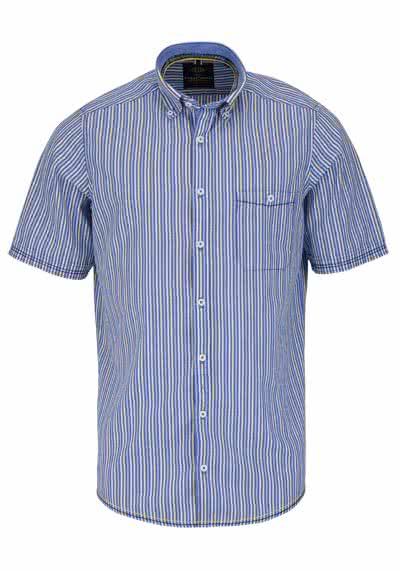 CASAMODA Casual Fit Hemd Halbarm mit Besatz Streifen dunkelblau - Hemden Meister
