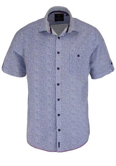 CASAMODA Casual Fit Hemd Halbarm New Kent Kragen Muster blau - Hemden Meister