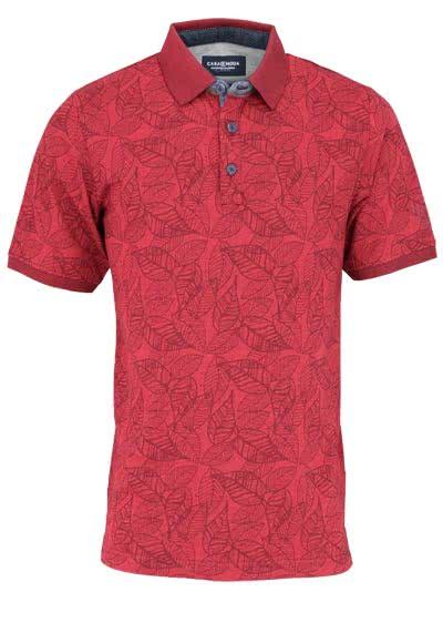 CASAMODA Poloshirt Halbarm geknöpfter Polokragen Muster rot - Hemden Meister