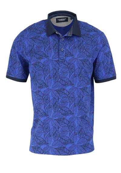 CASAMODA Poloshirt Halbarm geknöpfter Polokragen Muster blau - Hemden Meister