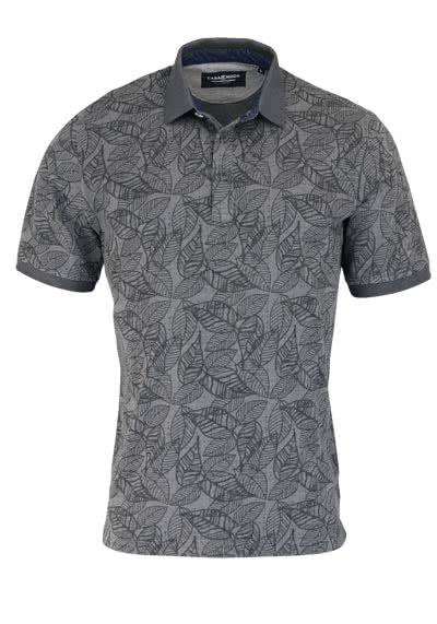 CASAMODA Poloshirt Halbarm geknöpfter Polokragen Muster grau - Hemden Meister