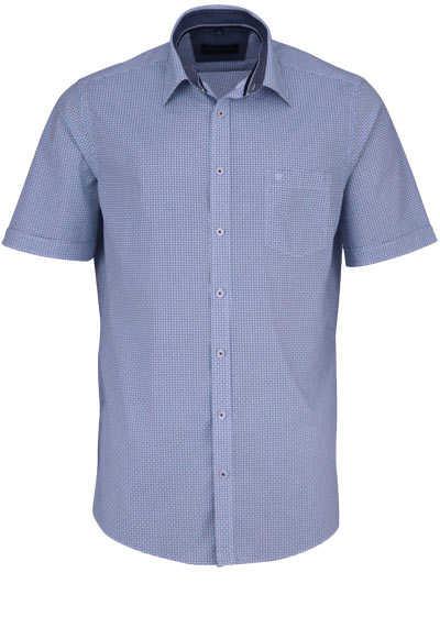 CASAMODA Comfort Fit Hemd Halbarm New Kent Kragen Muster blau - Hemden Meister