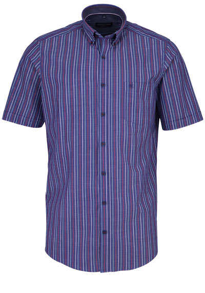 CASAMODA Comfort Fit Hemd Halbarm Streifen dunkelblau - Hemden Meister