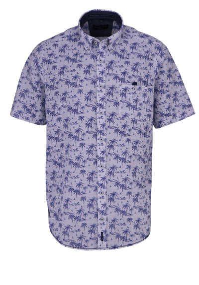CASAMODA Casual Fit Hemd Halbarm Muster dunkelblau - Hemden Meister