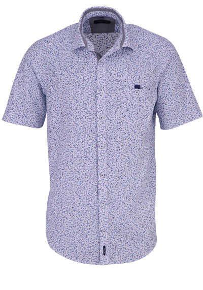 CASAMODA Casual Fit Hemd Halbarm Haifischkragen Muster blau - Hemden Meister