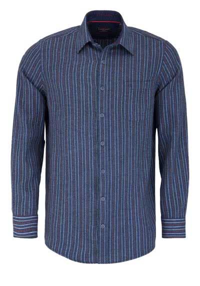 CASAMODA Comfort Fit Hemd Langarm New Kent Streifen blau - Hemden Meister