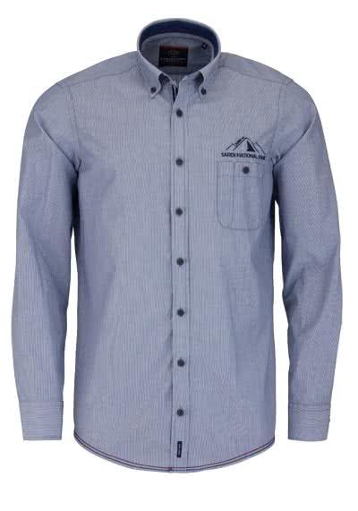 CASAMODA Casual Fit Hemd Langarm Button Down Kragen Streifen blau - Hemden Meister