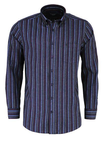 CASAMODA Comfort Fit Hemd Langarm Button Down Kragen Streifen rot - Hemden Meister